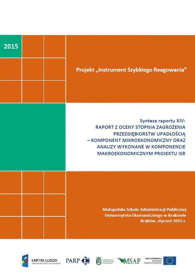 Synteza raportu ISR - Ocena stopnia zagrożenia przedsiębiorstw upadłością - XIV