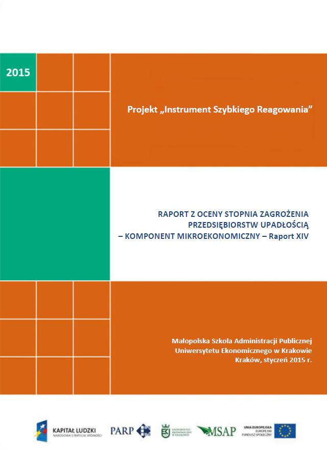 Komponent mikroekonomiczny - Ocena stopnia zagrożenia przedsiębiorstw upadłością - XIV