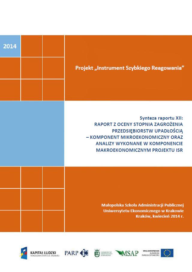 Synteza raportu ISR - Ocena stopnia zagrożenia przedsiębiorstw upadłością - XII