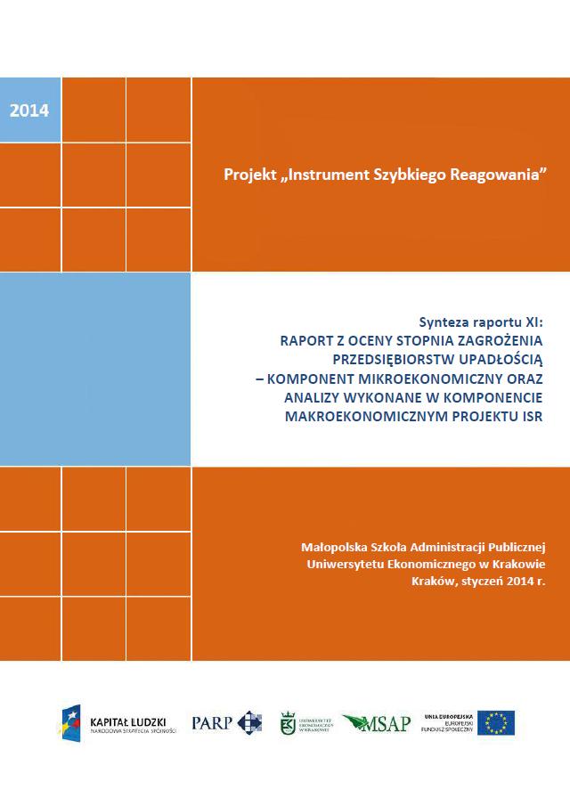 Synteza raportu ISR - Ocena stopnia zagrożenia przedsiębiorstw upadłością - XI