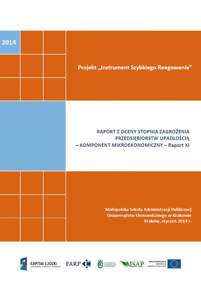 Komponent mikroekonomiczny - Ocena stopnia zagrożenia przedsiębiorstw upadłością - XI