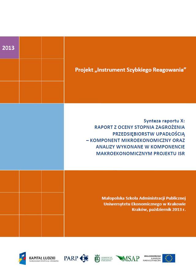 Synteza raportu ISR - Ocena stopnia zagrożenia przedsiębiorstw upadłością - X