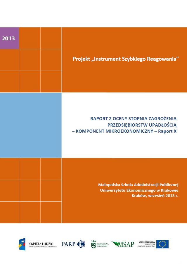 Komponent mikroekonomiczny - Ocena stopnia zagrożenia przedsiębiorstw upadłością - X