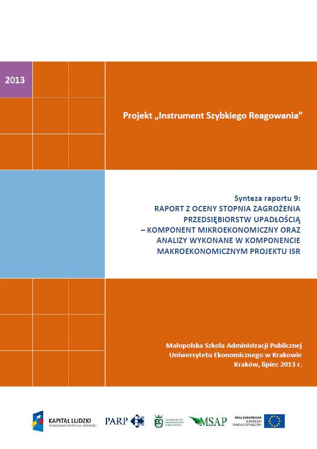 Synteza raportu ISR - Ocena stopnia zagrożenia przedsiębiorstw upadłością - IX