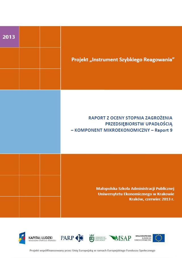 Komponent mikroekonomiczny - Ocena stopnia zagrożenia przedsiębiorstw upadłością - IX