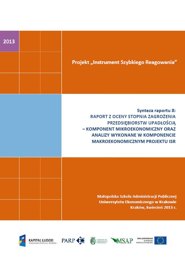 Synteza raportu ISR - Ocena stopnia zagrożenia przedsiębiorstw upadłością - VIII