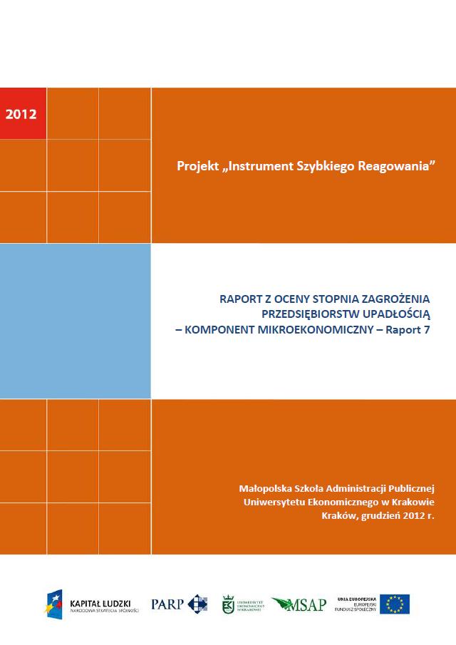 Komponent mikroekonomiczny - Ocena stopnia zagrożenia przedsiębiorstw upadłością - VII