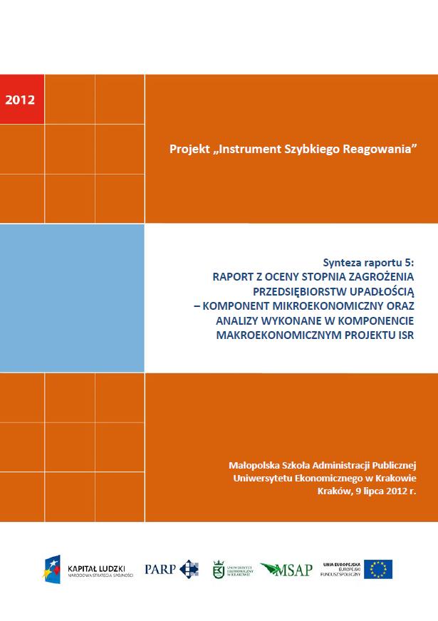 Synteza raportu ISR - Ocena stopnia zagrożenia przedsiębiorstw upadłością - V