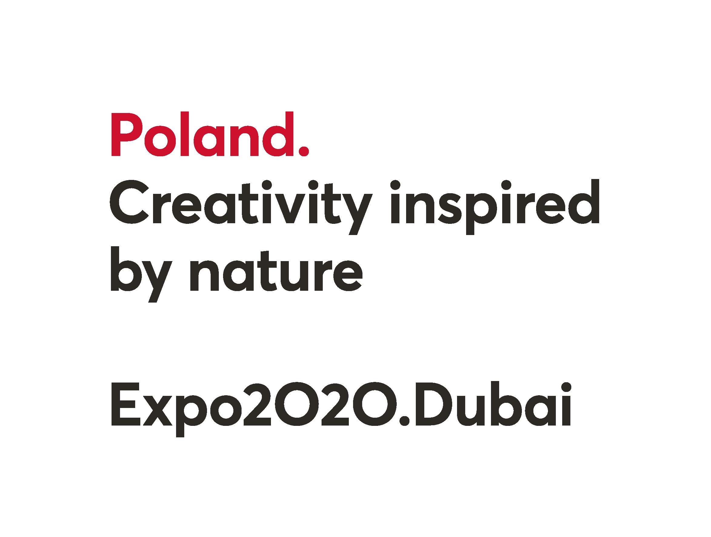 Logo z napisem Poland, Creativity inspired by nature, Expo 2020, Dubaj